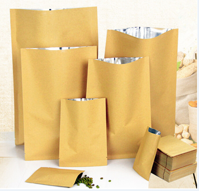 100pcs Zipper Brown Kraft Aluminium Foil Paper Bag Stand Up Small Bags Food Grade