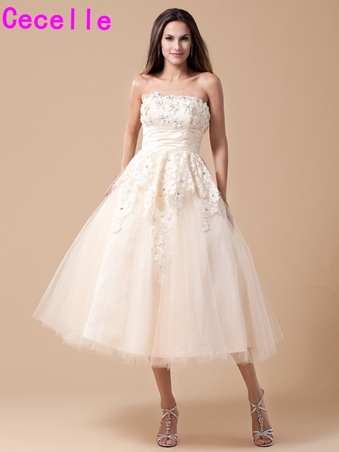 Champagne Short Vintage Tea Length Wedding Dresses With Color Lace Tulle Ball Gown Gowns Colorful