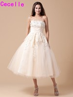 Champagne Short Vintage Tea Length Wedding Dresses With Color Lace Tulle Ball Gown Wedding Gowns Colorful Robe De Mariee 2017