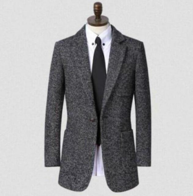 Stand collar long sleeve wool coat men grey slim fit business mens overcoat classic casaco masculino fashion plus size S - 9XL