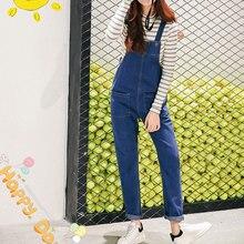 Новая коллекция весна и лето 2016 Корейских женщин свободные Джинсовые Комбинезоны С Нагрудниками брюки карман моды студент