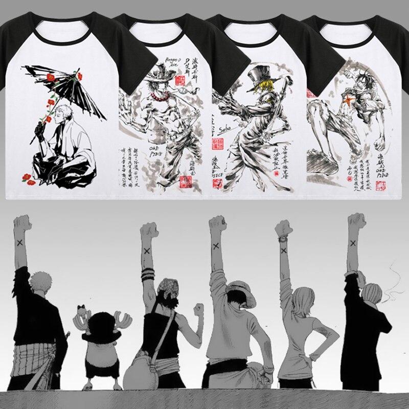 One Piece T,shirt Japan Anime Roronoa Zoro Luffy Cosplay ink painting T  Shirts Tops New Summer raglan Short Sleeve Tees