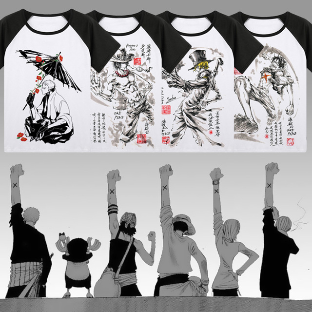 One Piece T-shirt Japan Anime Roronoa Zoro Luffy Cosplay ink painting T Shirts Tops New Summer raglan Short Sleeve Tees