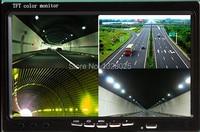Free Shipping DC12V 24V 7 Inch 4 Split Quad LCD Screen Display Color Rear View Car
