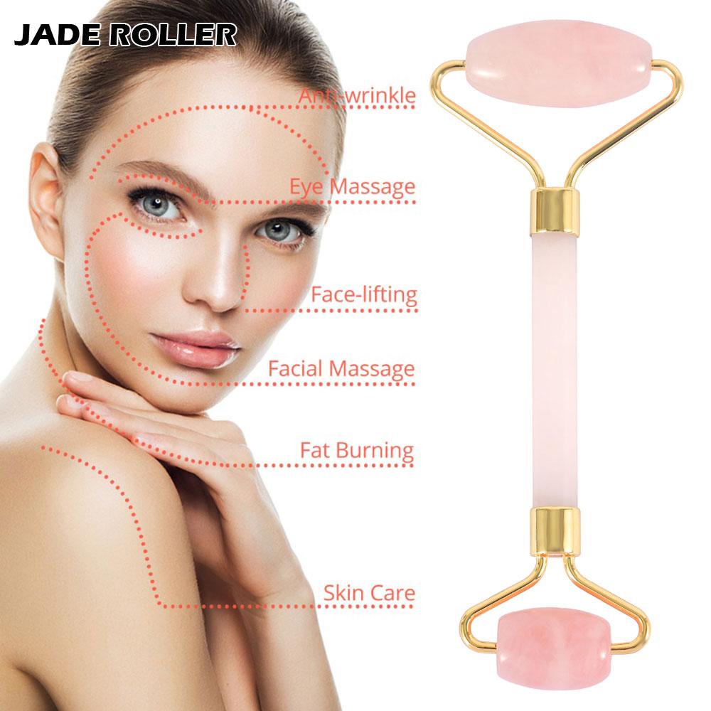 Rose Quartz Roller Slimming Face Massager Jade Roller Facial Skin Lifting Massage Women Beauty and Health Facial Fitness