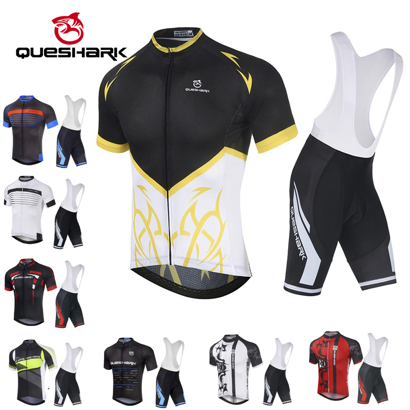 Queshark Cycling Jersey Cycling Bibs Shorts Suit Set Ropa Ciclismo Mens Summer Quick Dry Bicycle Shirt+Shorts Maillot SportwearQueshark Cycling Jersey Cycling Bibs Shorts Suit Set Ropa Ciclismo Mens Summer Quick Dry Bicycle Shirt+Shorts Maillot Sportwear