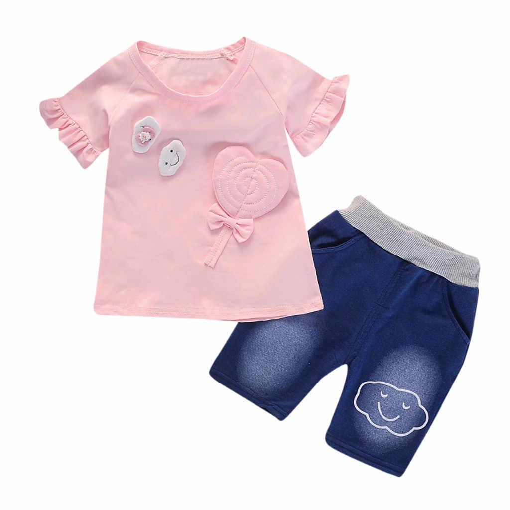 SZYADEOU maluch dziecko krótki rękaw Cartoon drukuj topy + Denim zestaw szortów stroje dla dzieci lato niemowląt dziewczyna odzież hurtownie L4