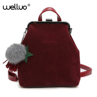 Wellvo Vintage Tassel Backpack For Teenage Girls New Designed Women Retro Rucksack With Ball Pendant Red