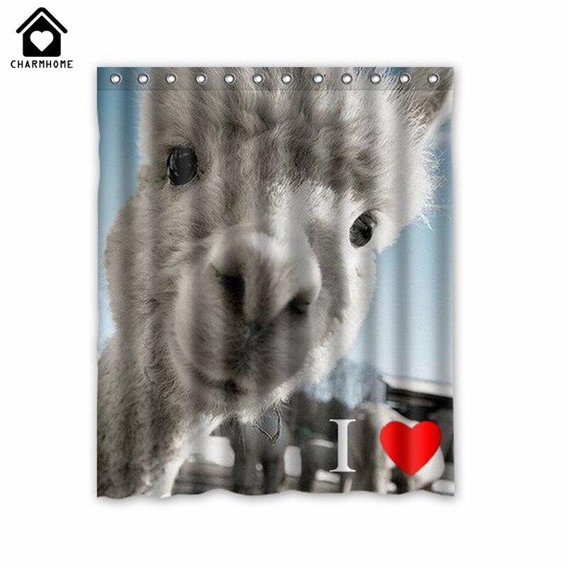 13 81 16 De Reduction Charmhome Mignon Lama Rideaux De Douche Polyester Tissu Impermeable Animal Bain Rideau Salle De Bain Panda Yak Elephant