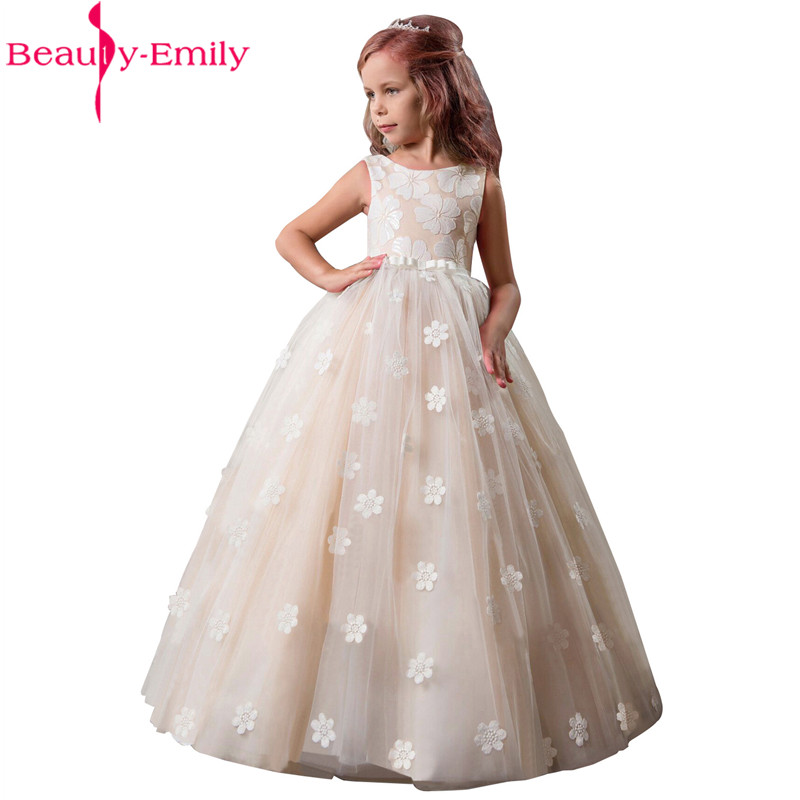 Beauty Emily Elegant O Neck   Flower     Girl     Dresses   with Bow Belt 2019 New 4 Colors Sleeveless Pageant   Dresses   for   Girls