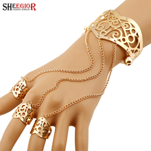 Fashion Finger Ring Open Cuff Bracelet&Bangles Gold/Silver Punk Style Rings Connect Bracelets Finger Jewelry For Women Party Gif punk style snake cuff ring for women