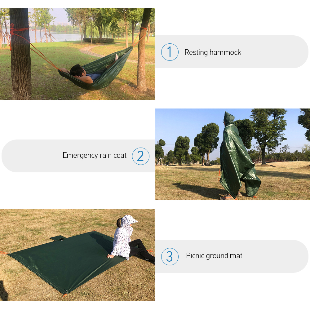 Image 5 - Multi functional Hammock Built in Tree Cord 551LB Bearing Capacity Waterproof Picnic Blanket Damp proof Camping Rug Emergent-in Tents from Sports & Entertainment