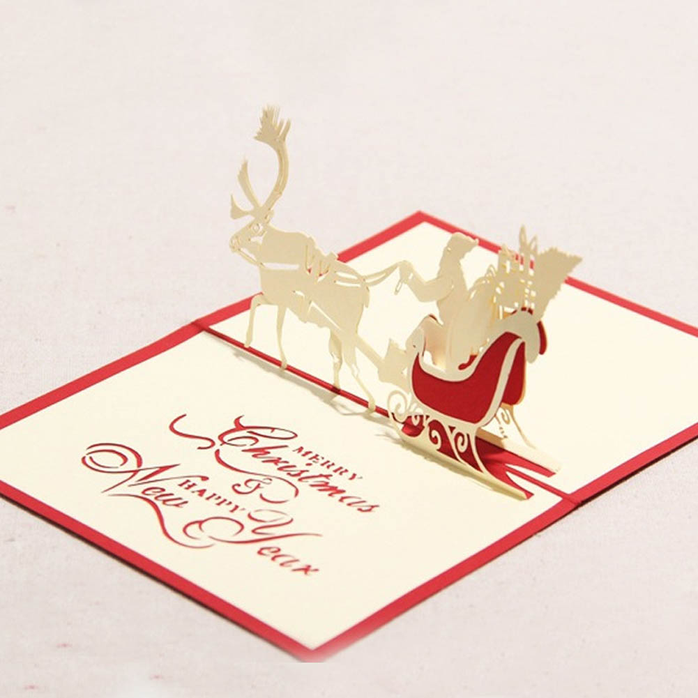Wedding & Anniversary Bands Bands Without Stones 3d Pop Up Santas Sleigh Greeting Card Merry Christmas Wedding Postcard Gift Craft Paper 10*15cm