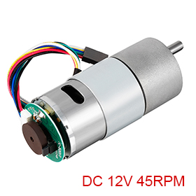 UXCELL Hot Sale 1Pcs <font><b>Gear</b></font> <font><b>Motor</b></font> with <font><b>Encoder</b></font> DC <font><b>12V</b></font> 7/45/500/200RPM D Shaft Metal <font><b>Encoder</b></font> <font><b>Gear</b></font> <font><b>Motor</b></font> Silver 37Dx71L mm image