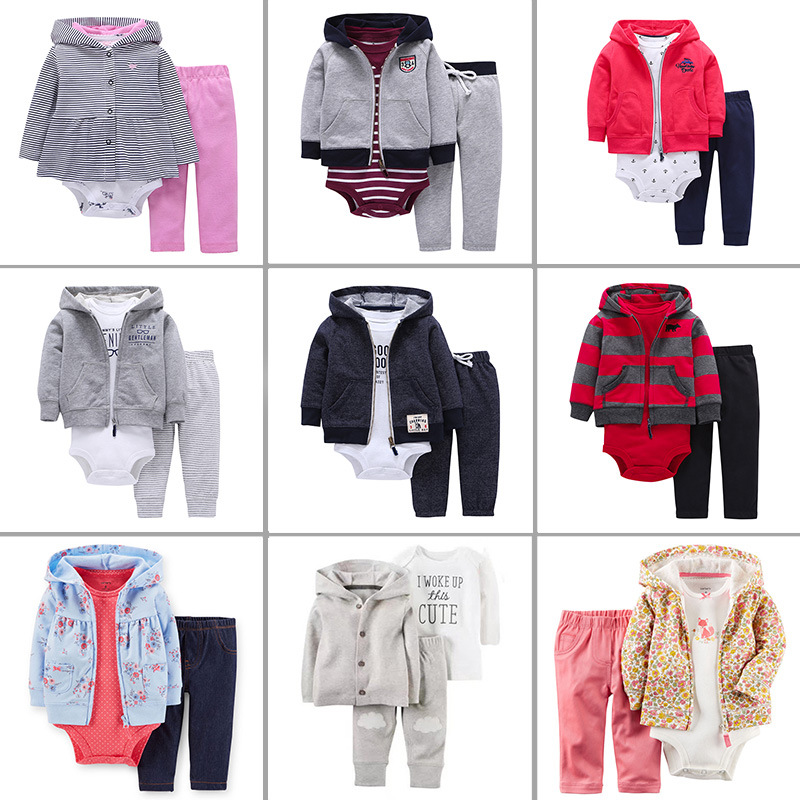 2019 Spring Autumn New Fashion 3PCS Baby Boy Girl Clothing Set of Coat Bodysuit Vest Pants Kids Clothes Cardigan Set in Clothing Sets from Mother Kids