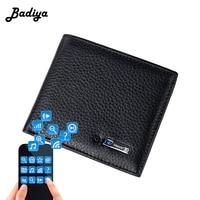 Men's Genuine Leather Wallet Intelligent Bluetooth Anti theft Men Purse Smart Card Holder Short Bifold Purse Male Carteira