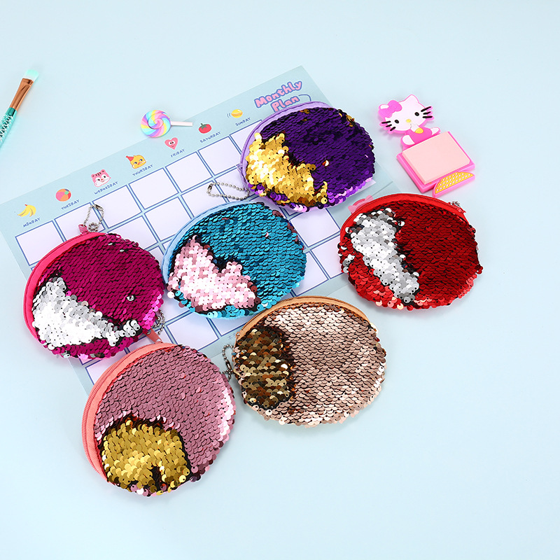 Ladies Sequins Classic Retro Small Change Coin Purse Little Key Car Pouch Money Bag Girl's Mini Short Coin Holder Wallet Gift стоимость