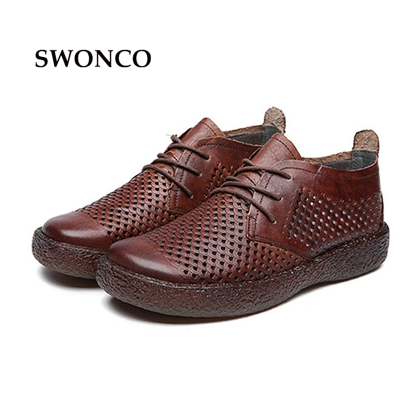 SWONCO Women's Flats Retro Shoes Hollow Out Lace Up Ladies Handmade Shoe New Spring Women Shoes Genuine Leather Woman Shoe swonco women s flats ladies shoe genuine leather 2018 spring autumn female shoe ladies shoes leather lace up casual women flats