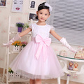 Include Glove Big Size Girls Party Dress Pink Lace with Super Bow Princess Dress for Wedding girls dresses summer 2-10 yrs