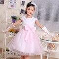 Incluir guante tamaño grande partido de las muchachas vestido rosa de encaje con Super arco princesa vestido para la boda las muchachas viste el verano encajan 2-10 años