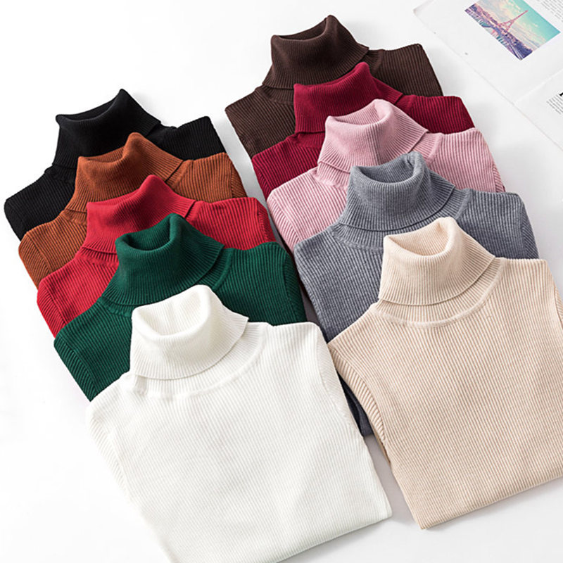 2019 Autumn Winter Knitted Sweater Pullovers Turtleneck Sweater For Women Long Sleeve White Black Soft Female Jumper Clothing