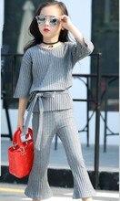 2017 automne enfants de vêtements de mode stretch tricoté bébé fille costumes pour filles grands enfants causal flare pantalon ensembles deux-pièce