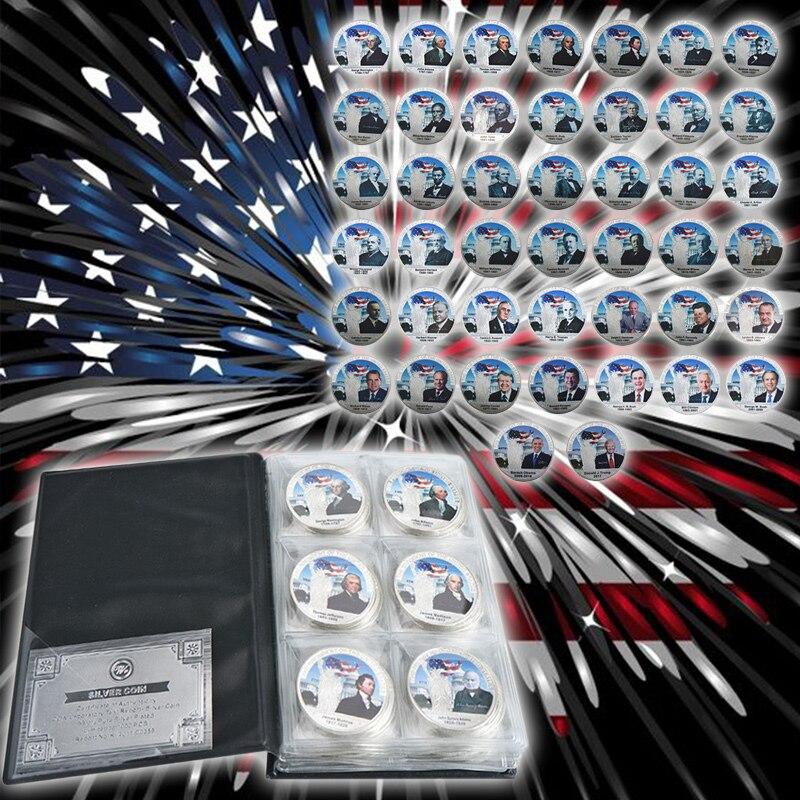 WR All 45 EE. UU. Presidente juego de monedas bañadas en plata colección de monedas de regalo hogar Decoración de calidad regalos de recuerdo de negocios 44 piezas-in Monedas no convertibles from Hogar y Mascotas    1