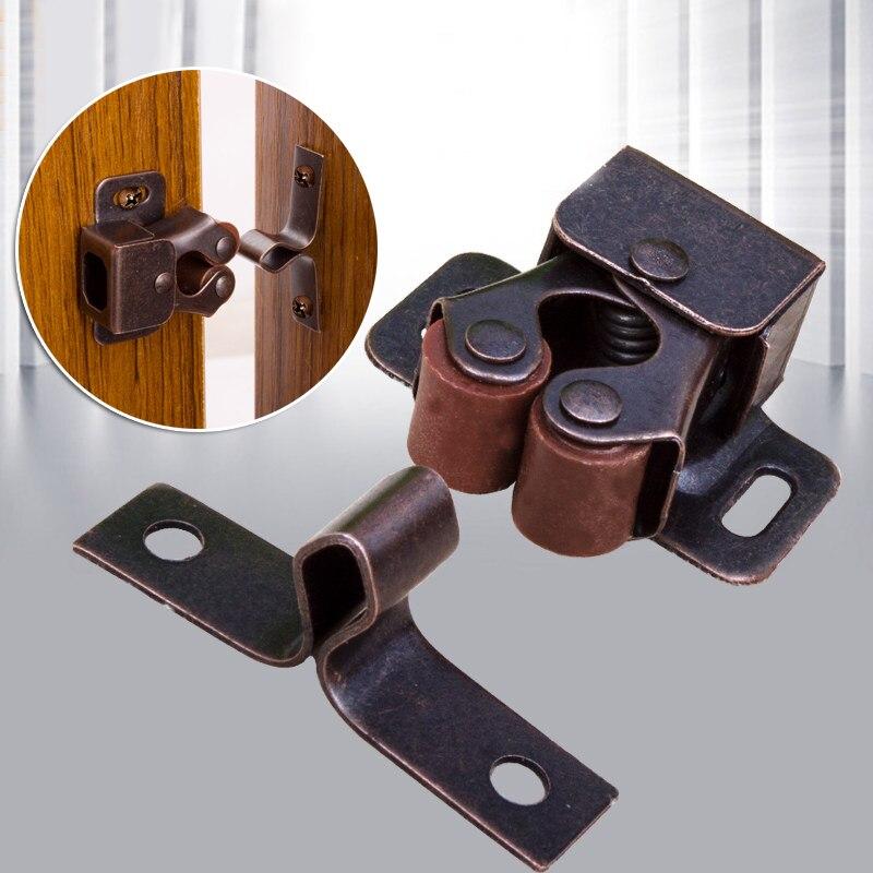 Двойная роликовая Защелка двери шкафа, фурнитура из нержавеющей стали, дверная защелка для кухни, бронзовая серебристая ручка двери для дома