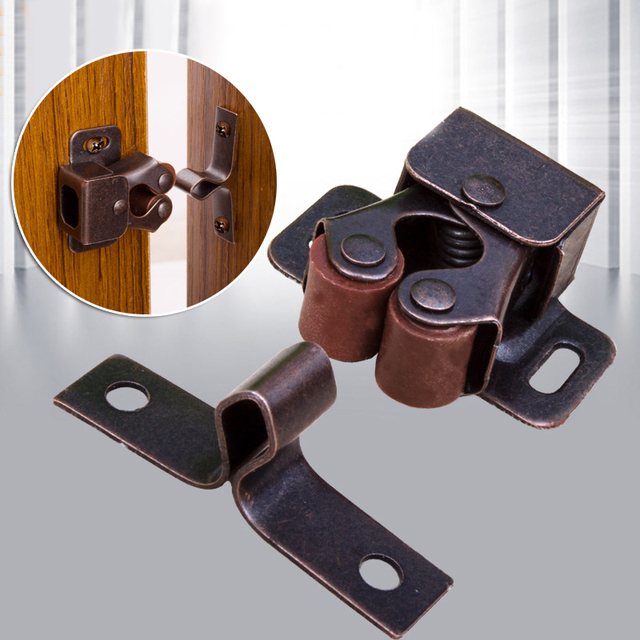 Double Roller Catch Cupboard Cabinet Door Latch Hardware Stainless Steel Clip Kitchen Bronze Silver