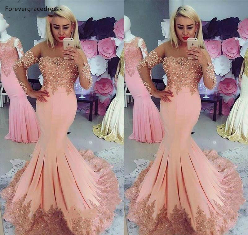 High Quality Long Sleeve   Prom     Dresses   2019 Mermaid Appliques Formal Holidays Graduation Wear Party Gowns Plus Size Custom Made