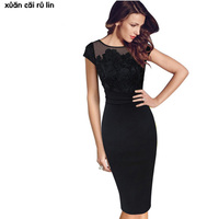 Women Sexy Floral Lace Hollow Black O-neck Short Sleeve Midi dress Fashion Embroidery Elegant Evening Party Plus Size 3xl dress