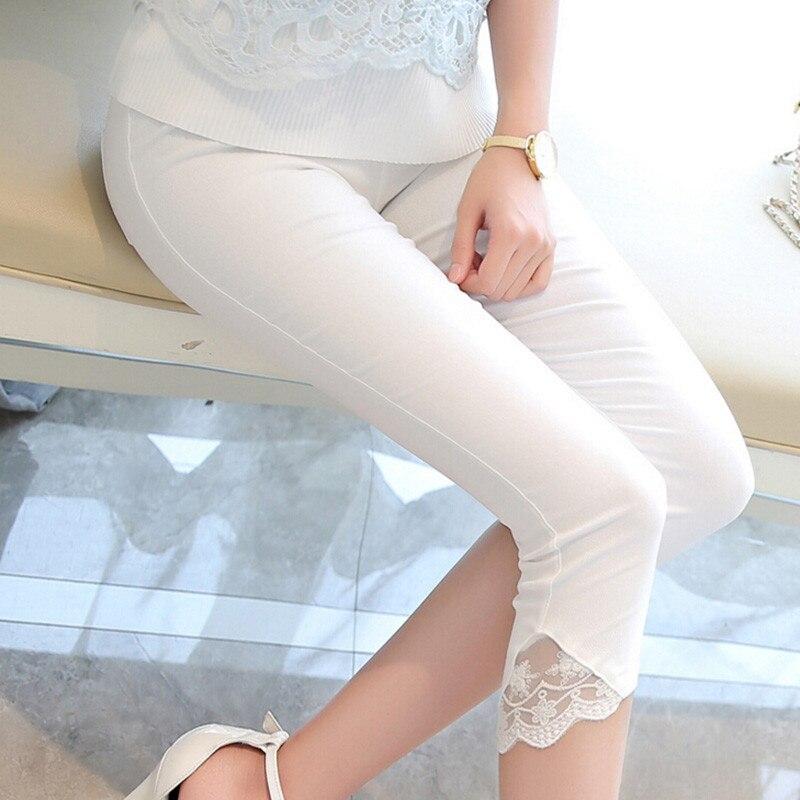 Daddy Chen Women Summer high waist Lace Calf length pencil font b Pants b font Casual
