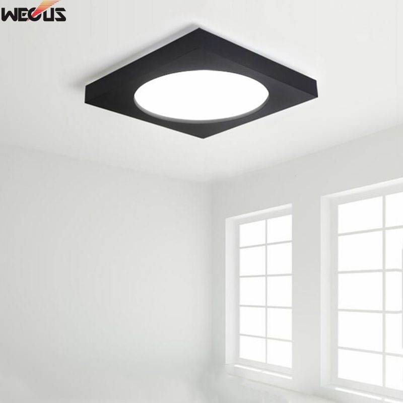 New product sales,Modern LED square mounted ceiling lamp, living room / bedroom / study room ceiling lamp,Black / White optional modern metal led dimmable white black square lamp for bedroom corridor living room ceiling lamp
