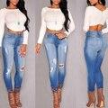 2017 Mujeres Vaqueros Nueva Primavera Lápiz Pantalones de Mezclilla de Moda de Verano Strech Azul Agujero Rasgado Cintura Alta Boyfriend Jeans Pantalones