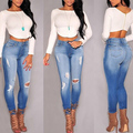 2017 Women Skinny Jeans New Spring Summer Fashion Pencil Pants Denim Strech Blue Hole Ripped High Waist Boyfriend Jeans Trouser