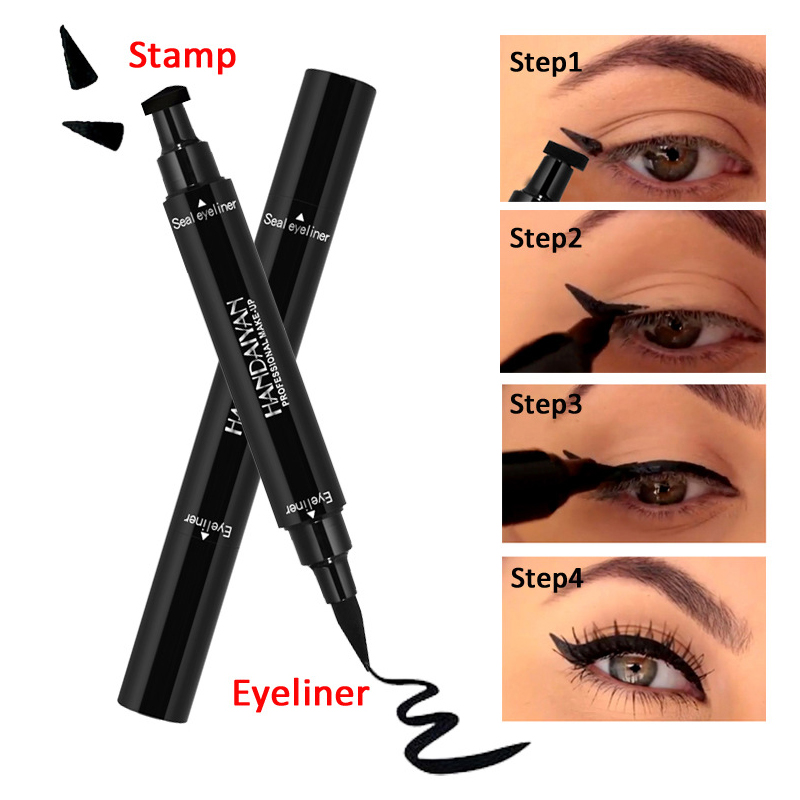 Eyeliner Handaiyan Brand Black Double-headed Eyeliner Pencil With Stamp Seal Maquiagem Waterproof Liquid Wing Eye Liner Cosmetics Tslm2 A Plastic Case Is Compartmentalized For Safe Storage