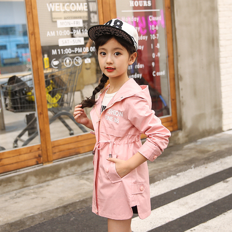 Image 3 - Children Clothing Baby Girls Clothing 2018 Spring and Autumn New Leisure Girls Coat Letter Movement, Hooded WindbreakerJackets & Coats   -