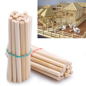 50pcs Pine Round Wooden Rods Sticks Premium Durable Wooden Dowel for DIY Crafts Building Model Woodworking(China)