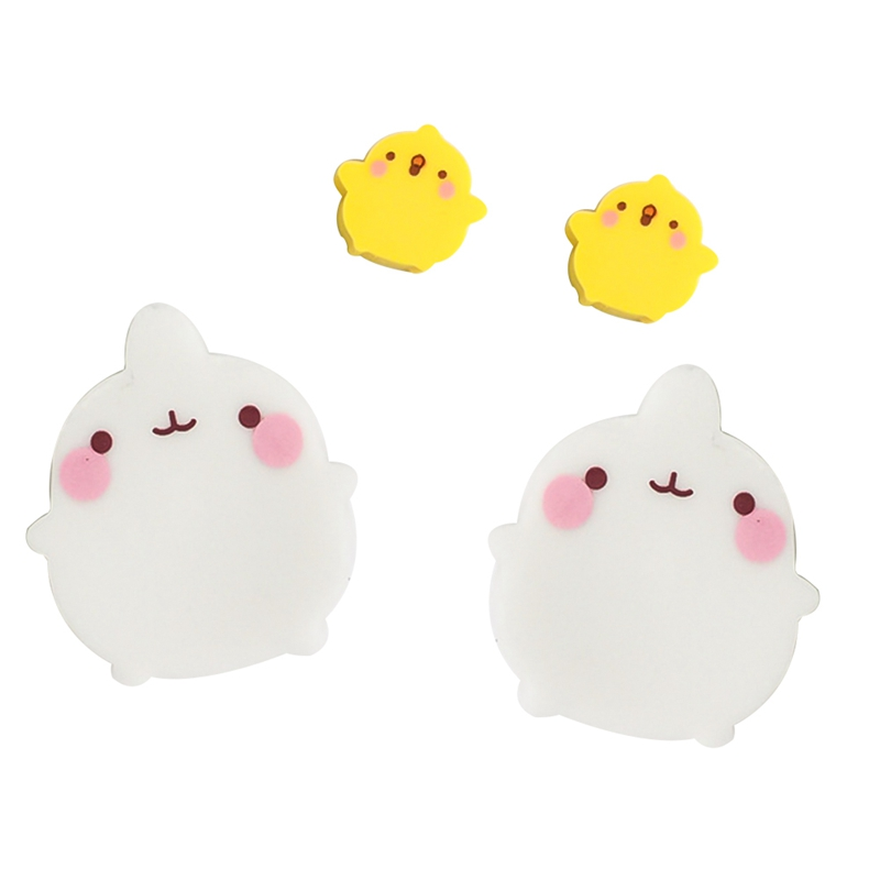 2 Pcs/pack Molang Rabbit Duck Eraser Rubber Eraser Primary Student Prizes Promotional Gift Stationery Students Supplies