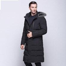 Новинка 2017 года зимняя куртка Для мужчин 90% белая утка Пух Длинные куртки Утепленная одежда пальто Повседневное Для мужчин толстые Пух пальто Куртки парка Homme