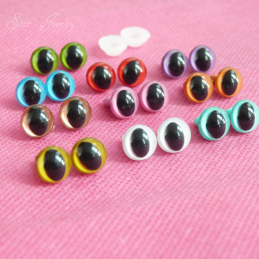100 шт --- Новые 9 мм пластиковые защитные игрушечные глаза кошки для плюшевых кукольных аксессуаров -- вариант цвета