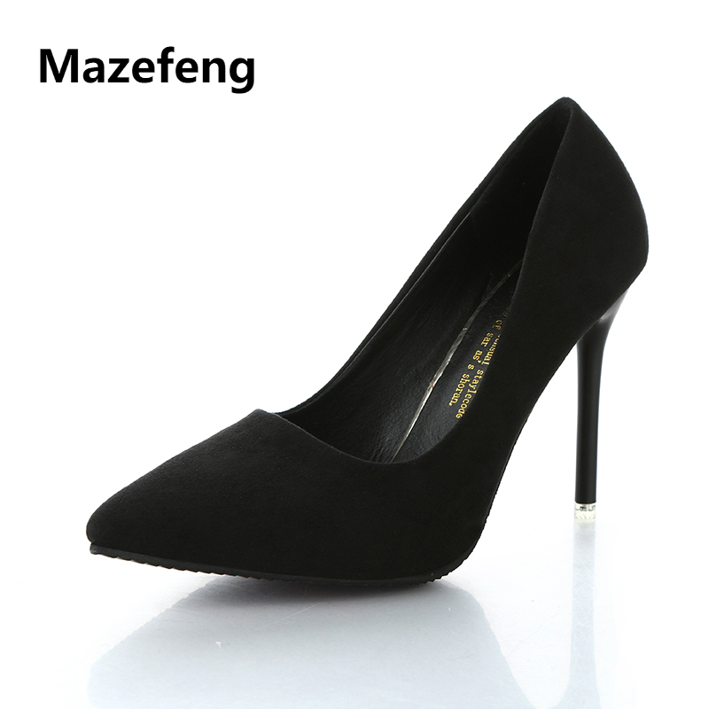 Mazefeng 2018 New Summer Women High-heeled Shoes Office&Career Women Classic Pumps Pointed Toe Slip-On Female Pumps Thin Heel bigtree spring summer women pumps sweet bow knot high heeled shoes thin pink high heel shoes hollow pointed stiletto elegant 22