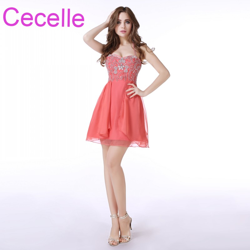 Coral Short   Cocktail     Dresses   2019 Halter Beaded Crystals Chiffon Skirt Girls Semi Formal   Cocktail   Party   Dress   Custom Made Real