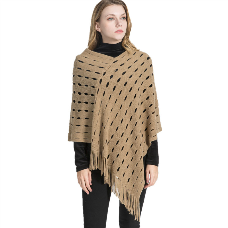 Winter Warm Cashmere Pashmina Women Scarf With Tassel Ladies Poncho Capes Hole Hollow Out Shawl Wrap Scarves Oversized 86*85 cm