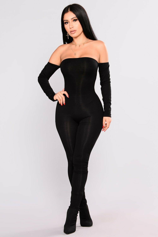 Women Sexy Jumpsuit Bodycon Jumpsuit Off Shoulder Solid Black Sheath Slash Neck