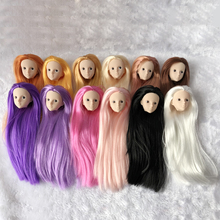 Soft Plastic Practice Makeup DIY Doll Head with Straight Hair For 30cm Doll Heads For 1/6 BJD Doll's Makeup Head Without Eye 5pieces lot soft plastic open eye practice makeup doll head 1 6 white double fold eyelid diy heads for barbies bjd make up