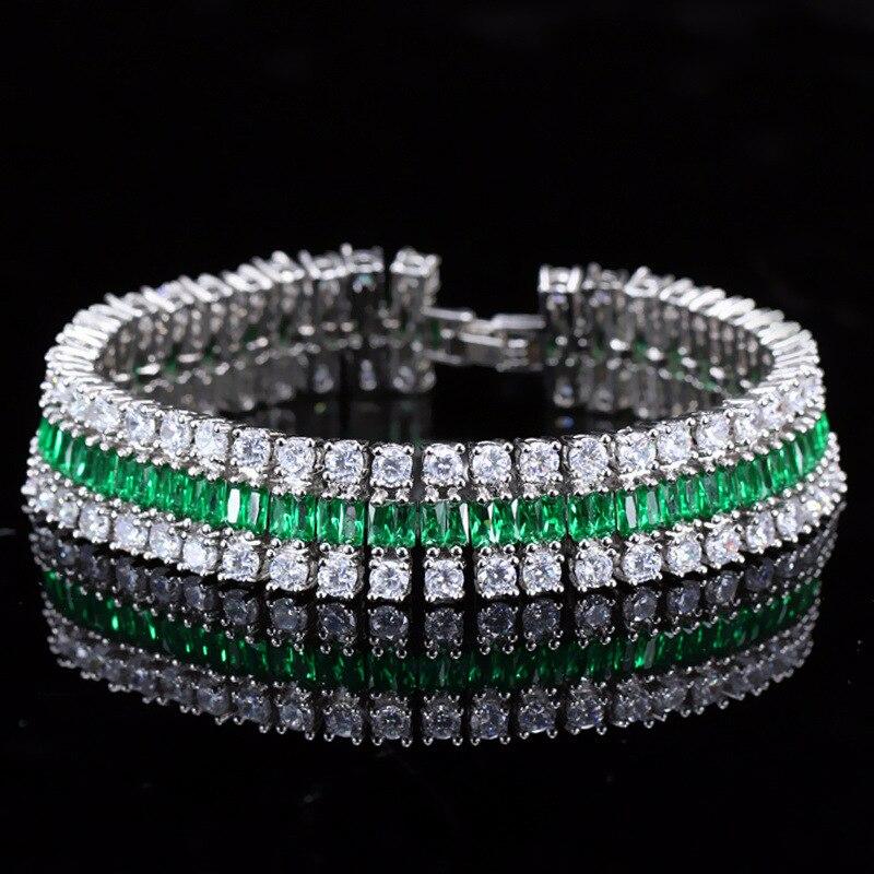 Bracelet de mode chaîne de zircon chromatique trois rangées de bracelets