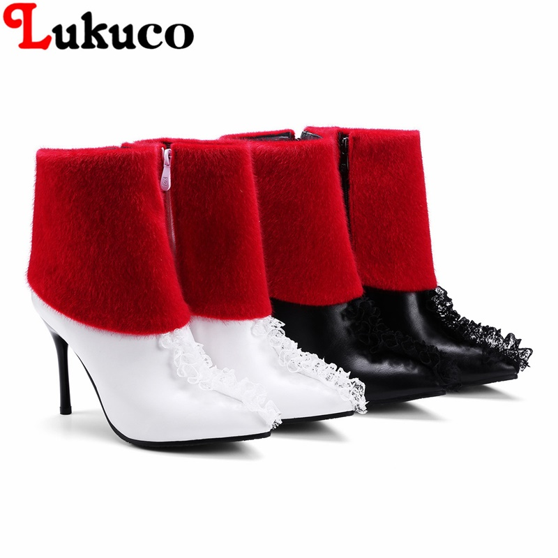2018 Concise lady ankle boots large CN size 35 36 37 38 39 40 41 42 43 faux fur design women Boots real pictures free shipping