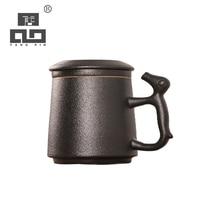 TANGPIN black japanese ceramic tea mugs with lid coffee mugs 330ml