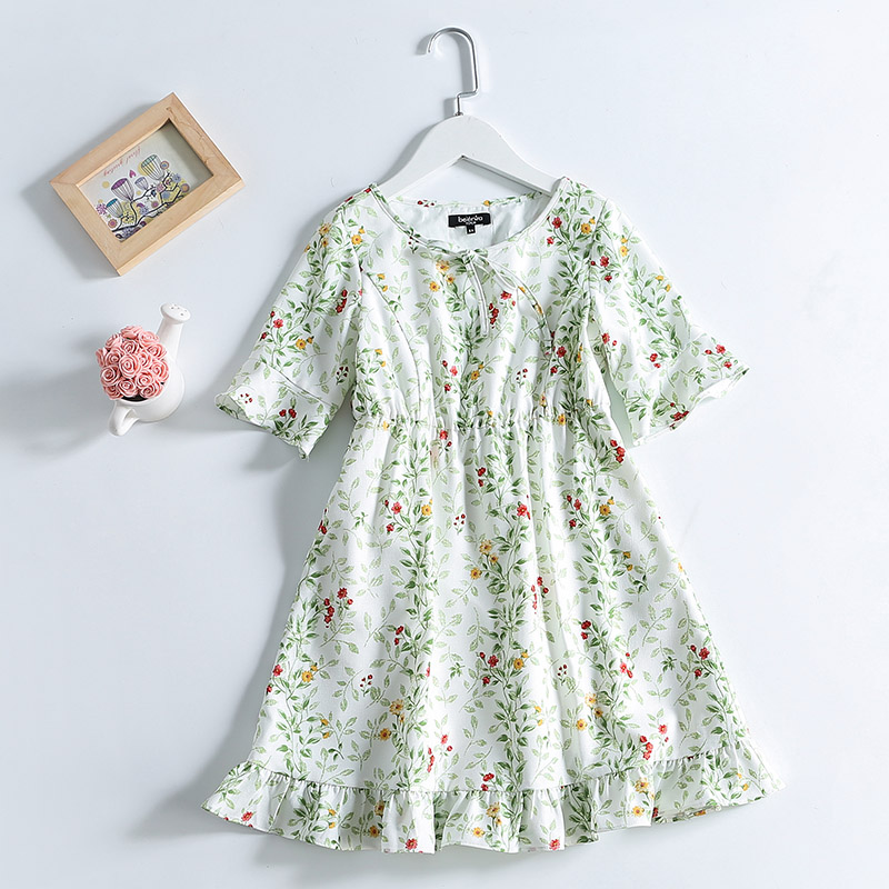 Summer Kids girl Clothing children A-line half sleeve floral print teenager 1Y-14Y causal beach dress girls party formal dresses summer children clothes aline short sleeve big hem bird print flower dress teenager 3 14t kids girl evening party formal dresses